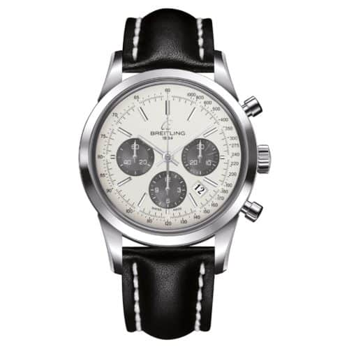Breitling Transocean Chronograph Steel – Mercury Silver – Black Leather  Strap 2d329e573e6