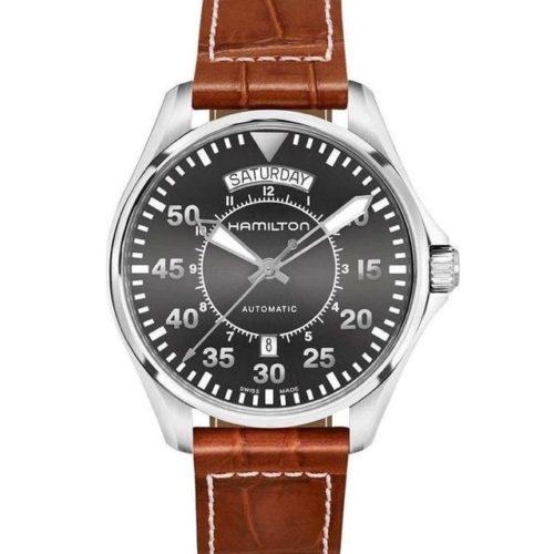 HAMILTON Khaki Aviation Automatic Brown Leather Strap 756627db837