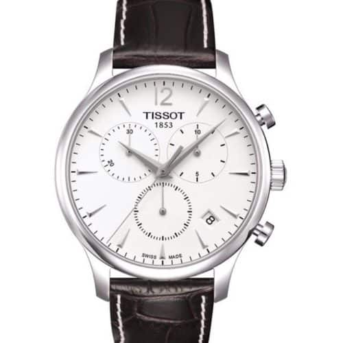 54895f8e220f TISSOT T-Classic Tradition Chronograph Brown Leather Strap