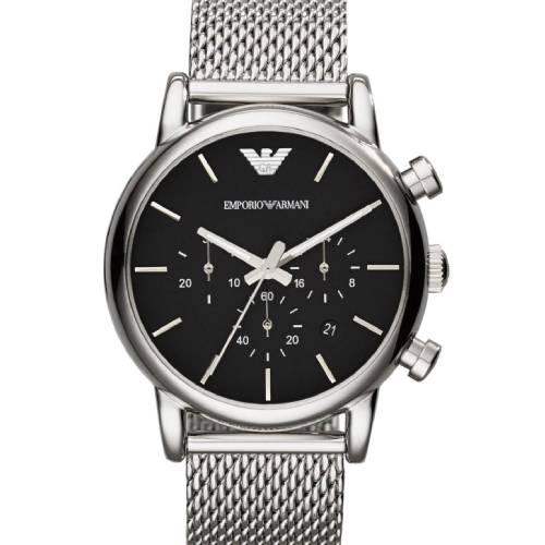 5d7de45056 Emporio Armani Classic Chronograph Silver Mesh Stainless Steel Bracelet
