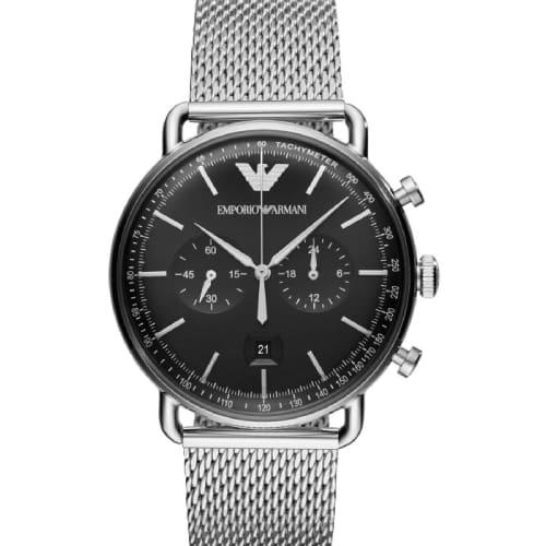 d09a76cc68 Emporio Armani Aviator Chronograph Stainless Steel Bracelet