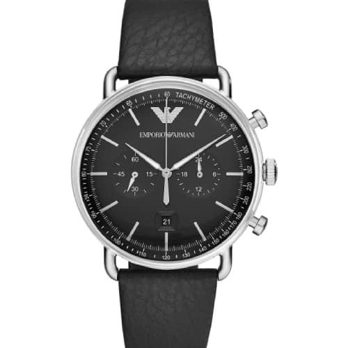 f3f9829387 Emporio Armani Aviator Chronograph Black Leather Strap